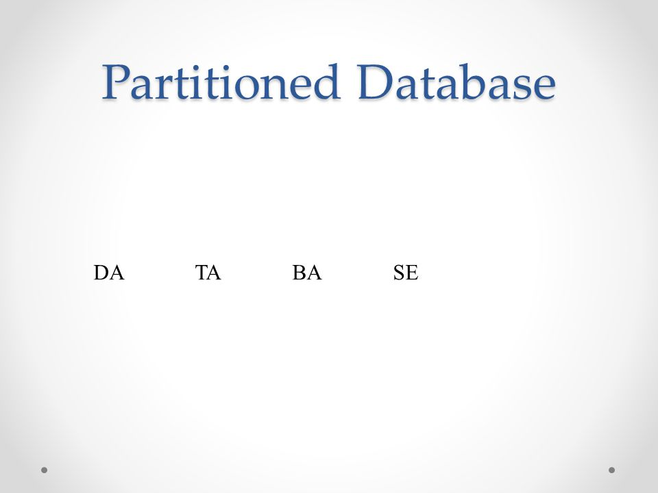 Partitioned Database DA TA BA SE