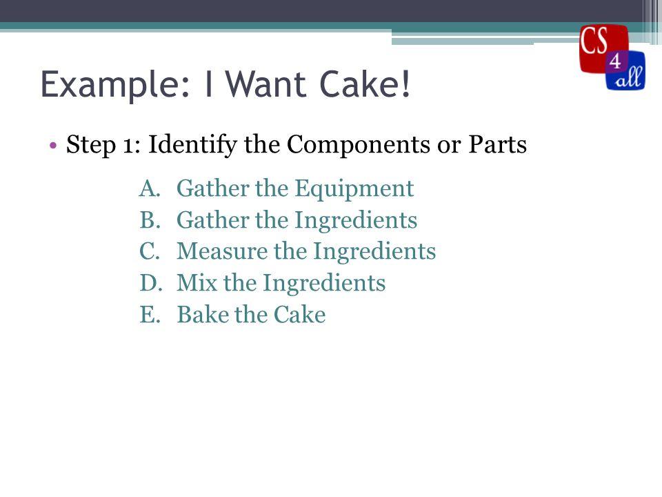 Example: I Want Cake.