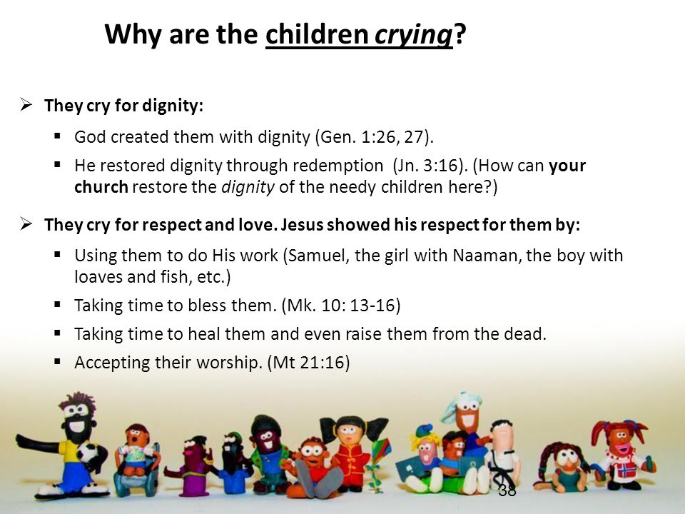 Why are the children crying.  They cry for dignity:  God created them with dignity (Gen.