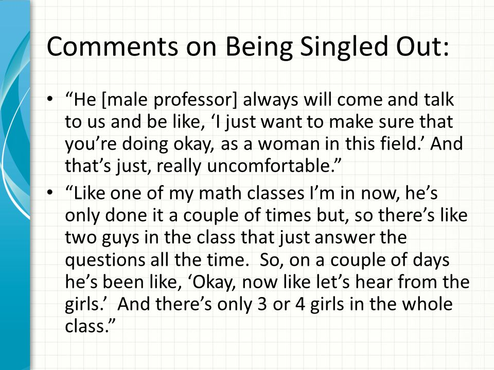 Comments on Being Singled Out: He [male professor] always will come and talk to us and be like, 'I just want to make sure that you're doing okay, as a woman in this field.' And that's just, really uncomfortable. Like one of my math classes I'm in now, he's only done it a couple of times but, so there's like two guys in the class that just answer the questions all the time.