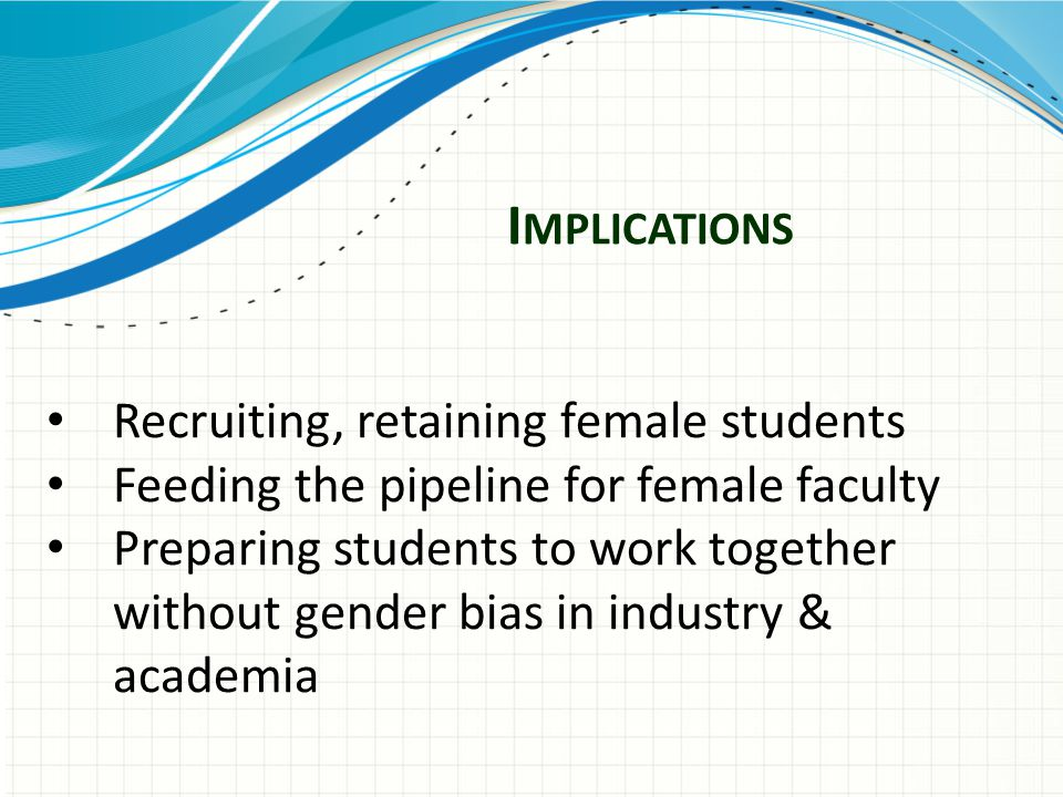 I MPLICATIONS Recruiting, retaining female students Feeding the pipeline for female faculty Preparing students to work together without gender bias in industry & academia