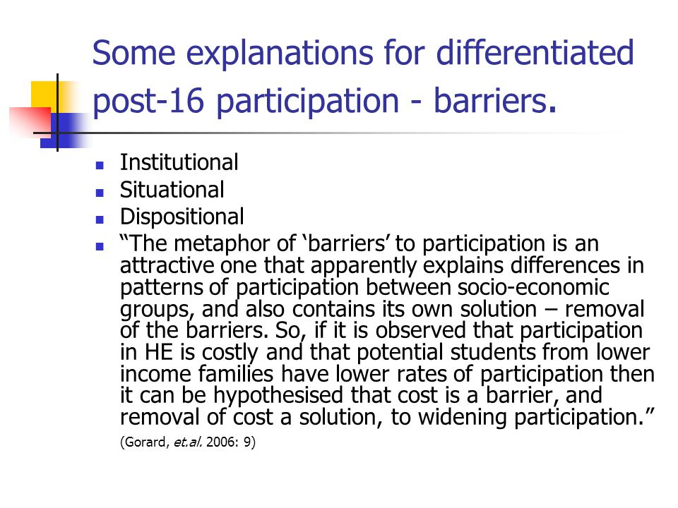 Some explanations for differentiated post-16 participation - barriers.