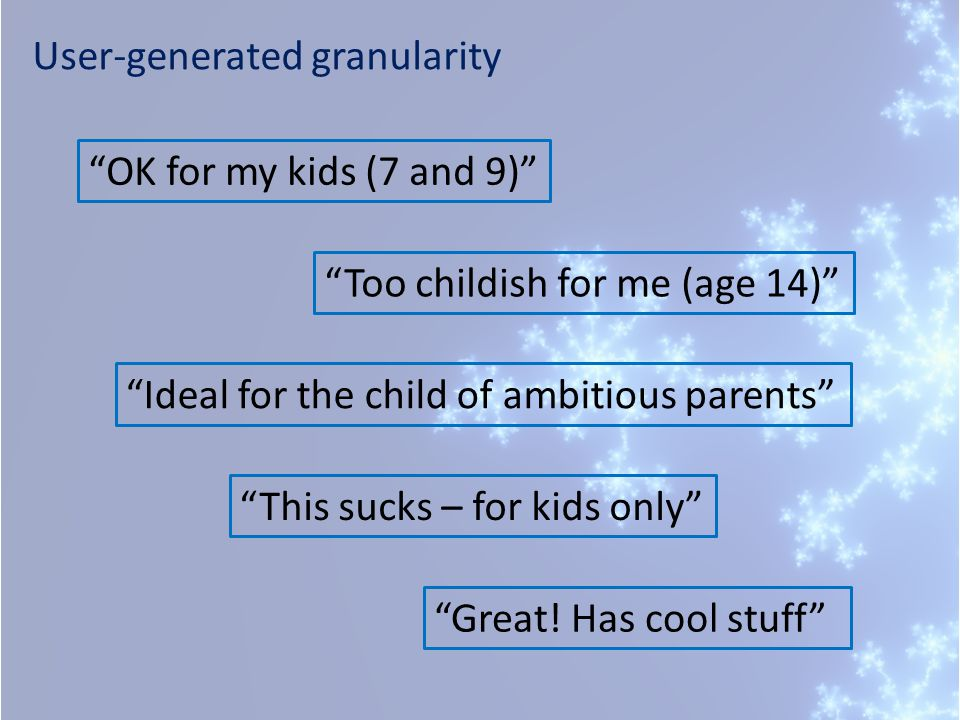 User-generated granularity OK for my kids (7 and 9) Too childish for me (age 14) Ideal for the child of ambitious parents This sucks – for kids only Great.