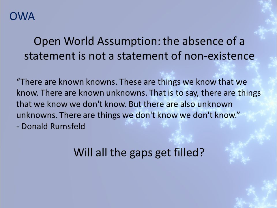 """OWA Will all the gaps get filled? """"There are known knowns. These are things we know that we know. There are known unknowns. That is to say, there are"""