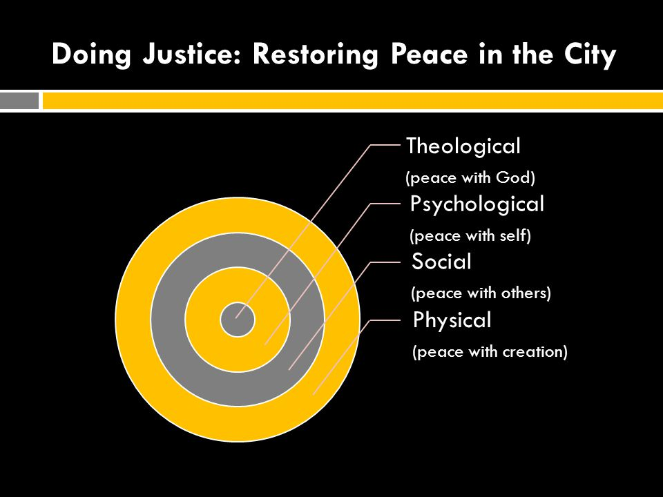 Doing Justice: Restoring Peace in the City Theological (peace with God) Psychological (peace with self) Social (peace with others) Physical (peace wit