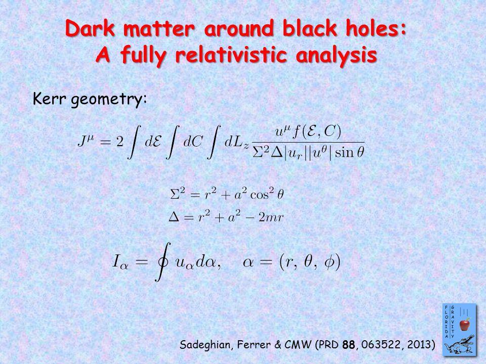 Dark matter around black holes: A fully relativistic analysis Sadeghian, Ferrer & CMW (PRD 88, 063522, 2013) Kerr geometry: