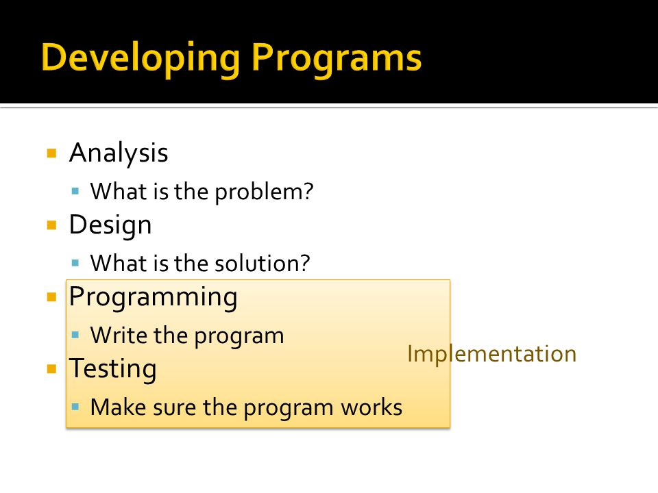  Analysis  What is the problem.  Design  What is the solution.