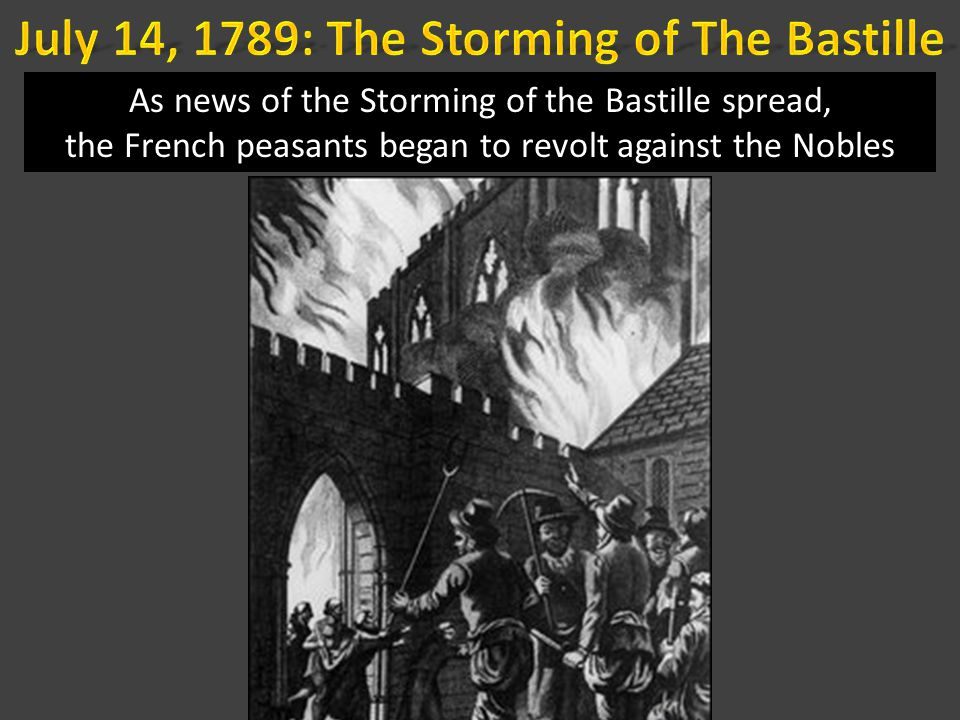 As news of the Storming of the Bastille spread, the French peasants began to revolt against the Nobles