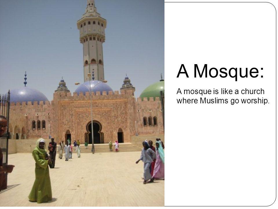 A Mosque: A mosque is like a church where Muslims go worship.