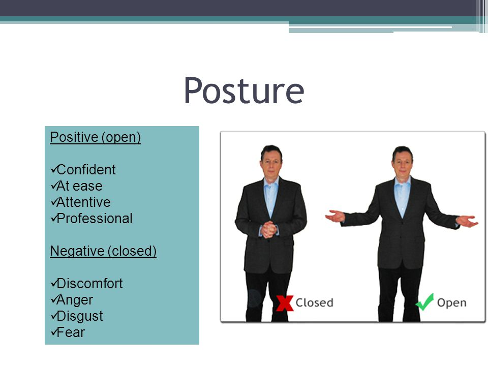 Posture Positive (open) Confident At ease Attentive Professional Negative (closed) Discomfort Anger Disgust Fear