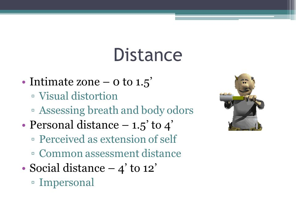 Distance Intimate zone – 0 to 1.5' ▫Visual distortion ▫Assessing breath and body odors Personal distance – 1.5' to 4' ▫Perceived as extension of self ▫Common assessment distance Social distance – 4' to 12' ▫Impersonal