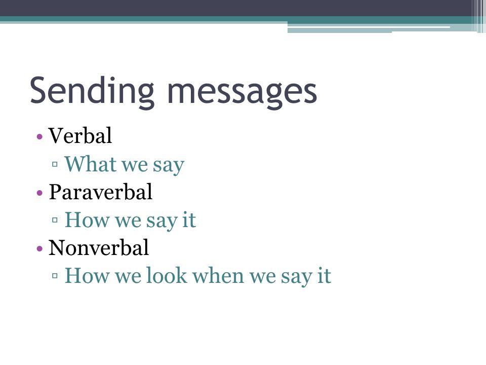 Sending messages Verbal ▫What we say Paraverbal ▫How we say it Nonverbal ▫How we look when we say it