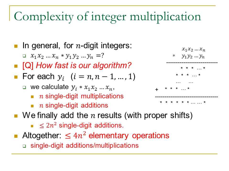 Complexity of integer multiplication