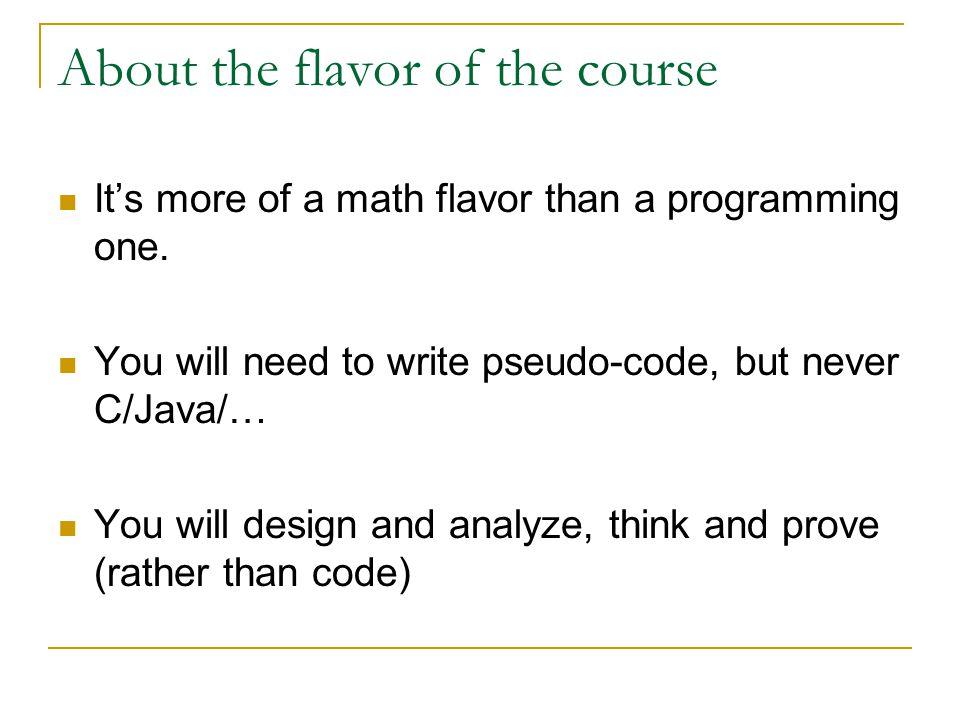 Part II: About algorithms