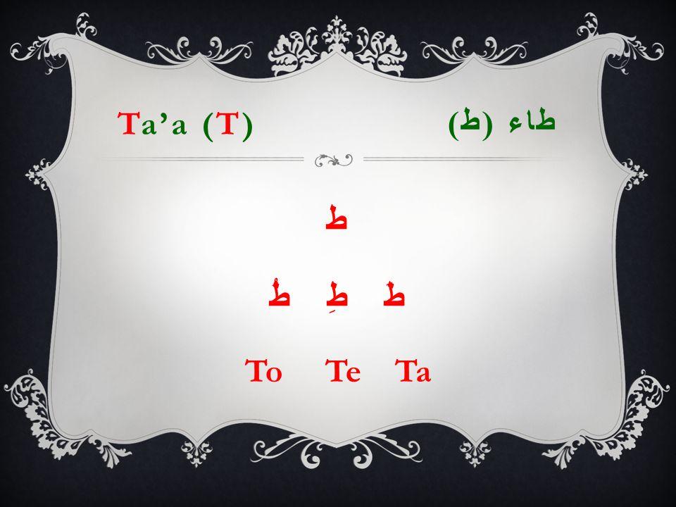 Ta'a (T) طاء ( ط ) ط طَ طِ طُ To Te Ta