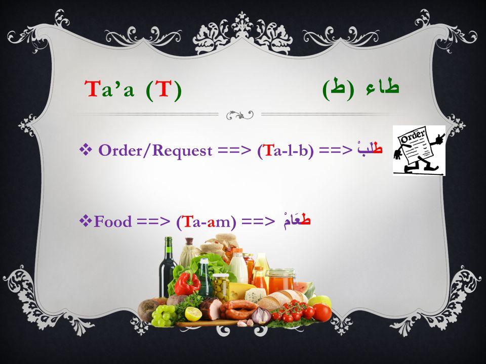 Ta'a (T) طاء ( ط )  Order/Request ==> (Ta-l-b) ==> طَلَبْ  Food ==> (Ta-am) ==> طَعَامْ