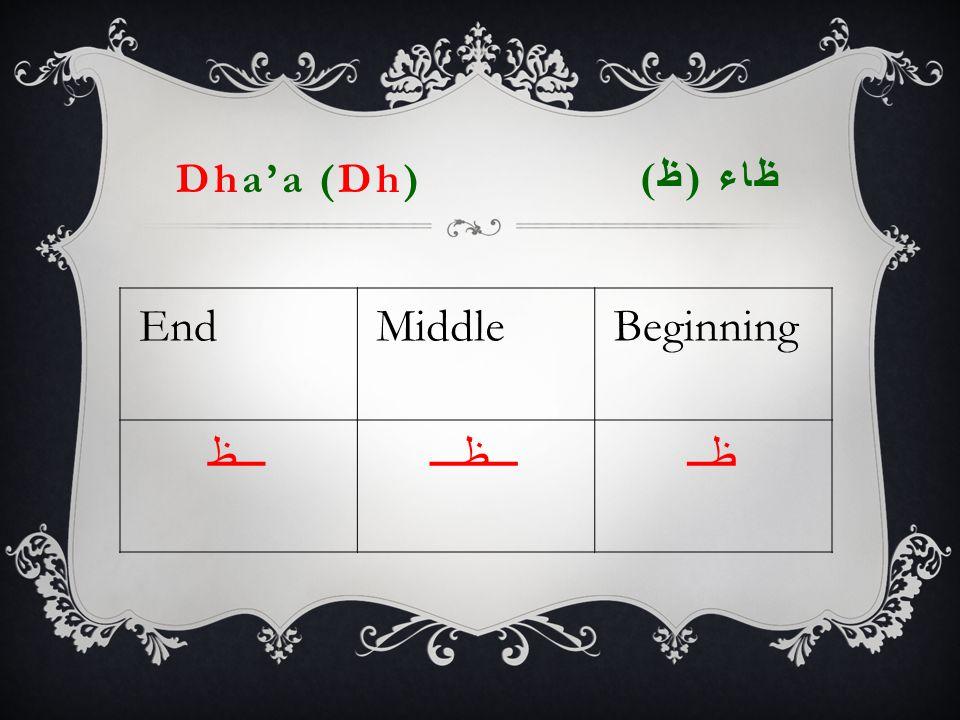 Dha'a (Dh) ظاء ( ظ ) EndMiddleBeginning ـــظـــظـــظــ
