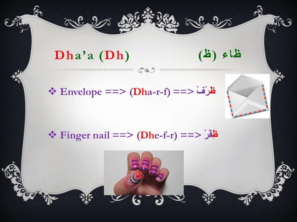Dha'a (Dh) ظاء ( ظ )  Envelope ==> (Dha-r-f) ==> ظَرْفْ  Finger nail ==> (Dhe-f-r) ==> ظِفْرْ