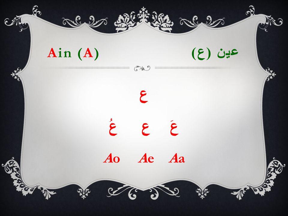 Ain (A) عين ( ع ) ع عَ عِ عُ Ao Ae Aa