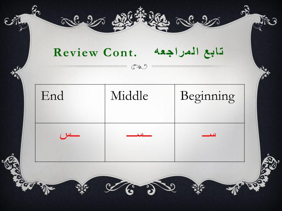 Review Cont. تابع المراجعه EndMiddleBeginning ـــســـســـســ
