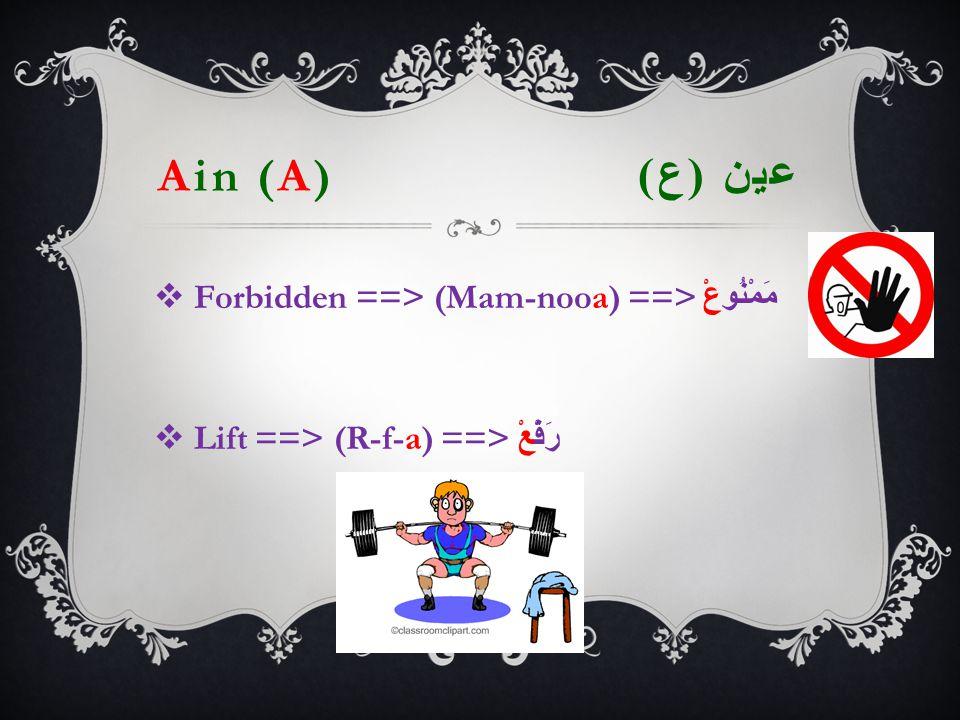 Ain (A) عين ( ع )   Forbidden ==> (Mam-nooa) ==> مَمْنُوعْ  Lift ==> (R-f-a) ==> رَفْعْ