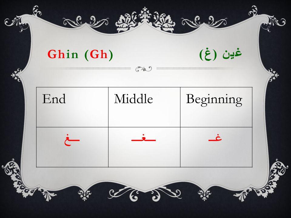 Ghin (Gh) غين ( غ ) EndMiddleBeginning ـــغـــغـــغــ