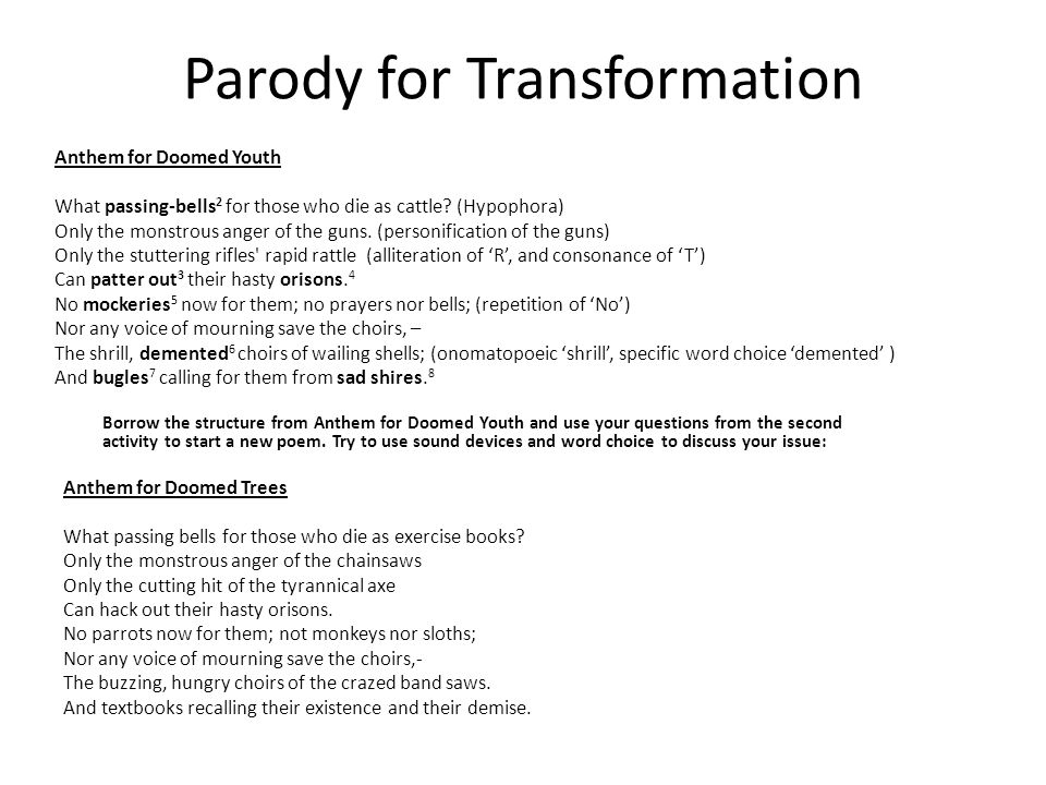 Parody for Transformation Borrow the structure from Anthem for Doomed Youth and use your questions from the second activity to start a new poem.