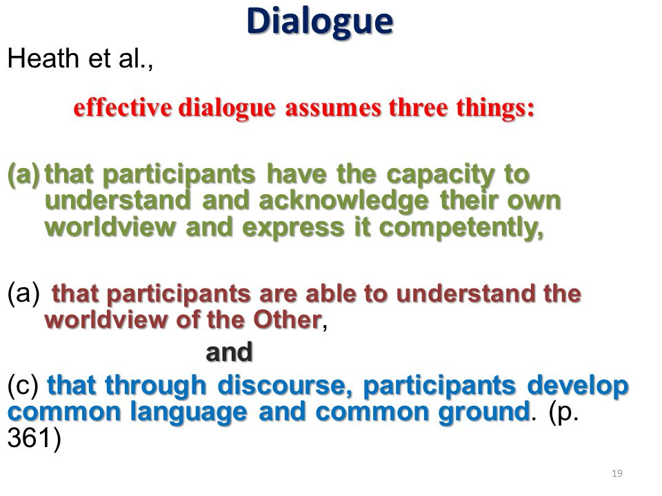 Dialogue Heath et al., effective dialogue assumes three things: (a)that participants have the capacity to understand and acknowledge their own worldview and express it competently, that participants are able to understand the worldview of the Other (a) that participants are able to understand the worldview of the Other,and that through discourse, participants develop common language and common ground (c) that through discourse, participants develop common language and common ground.