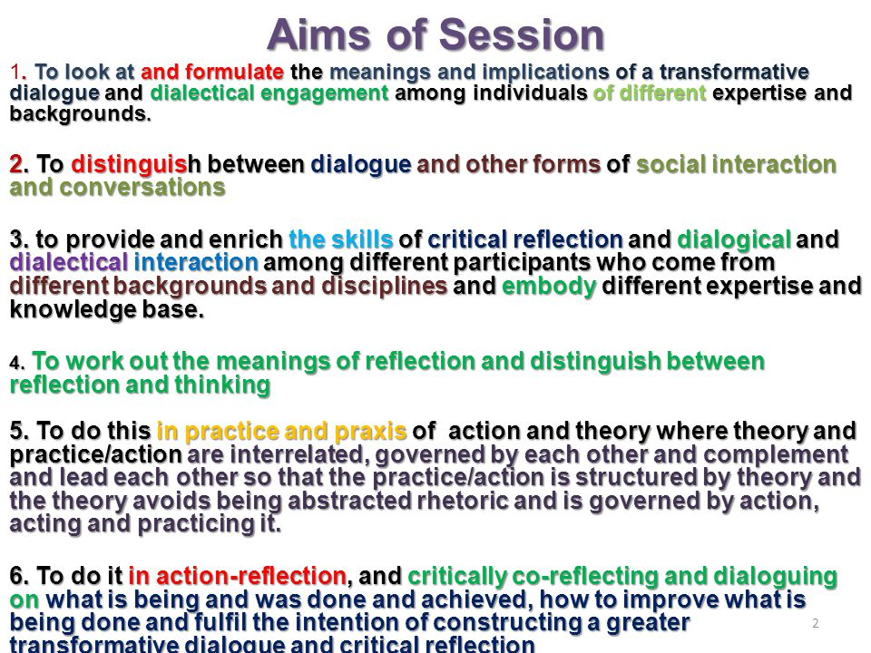 Aims of Session.