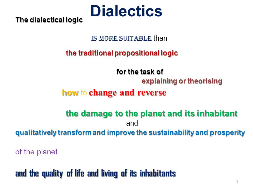 Dialectics The dialectical logic is more suitable than the traditional propositional logic for the task of explaining or theorising explaining or theorising how change and reverse how to change and reverse the damage to the planet and its inhabitant and qualitatively transform and improve the sustainability and prosperity of the planet and the quality of life and living of its inhabitants 4