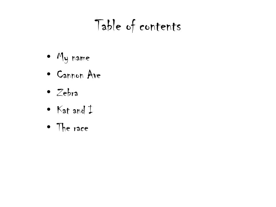 Table of contents My name Cannon Ave Zebra Kat and I The race
