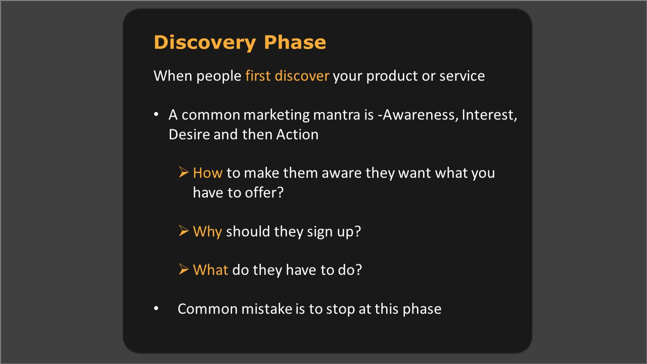 Discovery Phase When people first discover your product or service A common marketing mantra is -Awareness, Interest, Desire and then Action  How to make them aware they want what you have to offer.
