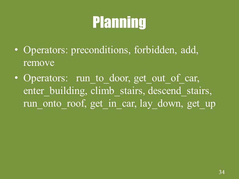 34 Planning Operators: preconditions, forbidden, add, remove Operators: run_to_door, get_out_of_car, enter_building, climb_stairs, descend_stairs, run_onto_roof, get_in_car, lay_down, get_up