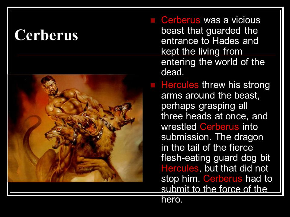 Cerberus Cerberus was a vicious beast that guarded the entrance to Hades and kept the living from entering the world of the dead.