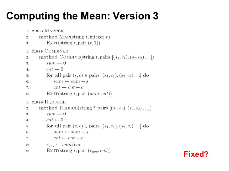 Computing the Mean: Version 3 Fixed