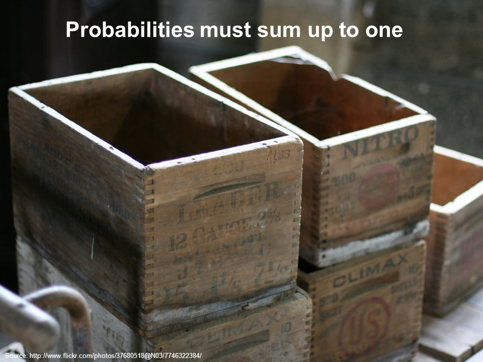 Probabilities must sum up to one Source: http://www.flickr.com/photos/37680518@N03/7746322384/