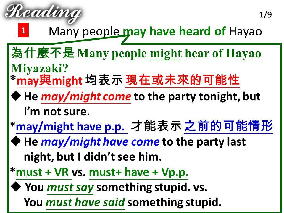 Many people may have heard of Hayao Miyazaki …. 1 1/9 為什麼不是 Many people might hear of Hayao Miyazaki? * may 與 might 均表示 現在或未來的可能性  He may/might come