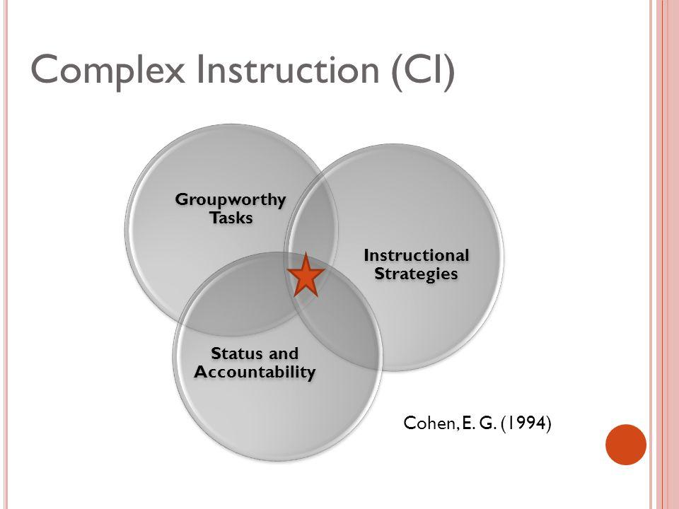 Complex Instruction (CI) Cohen, E. G. (1994)