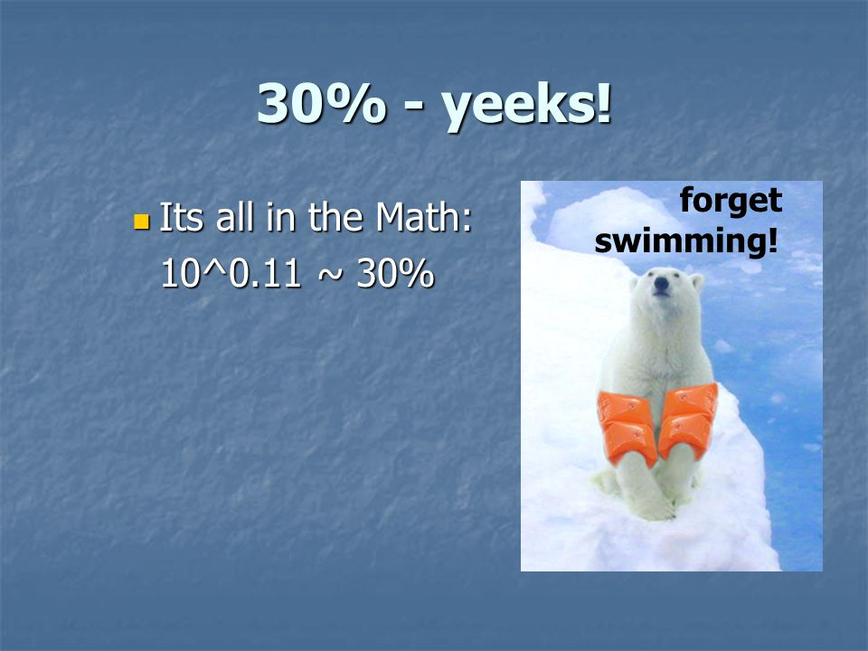 30% - yeeks! Its all in the Math: Its all in the Math: 10^0.11 ~ 30% forget swimming!