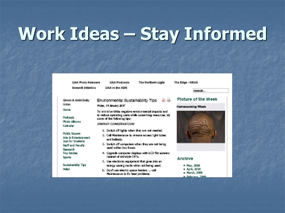 Work Ideas – Stay Informed