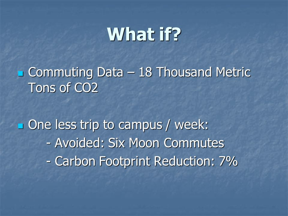 What if? Commuting Data – 18 Thousand Metric Tons of CO2 Commuting Data – 18 Thousand Metric Tons of CO2 One less trip to campus / week: One less trip