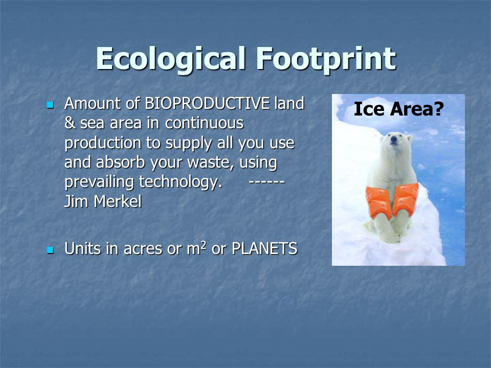 Ecological Footprint Amount of BIOPRODUCTIVE land & sea area in continuous production to supply all you use and absorb your waste, using prevailing technology.
