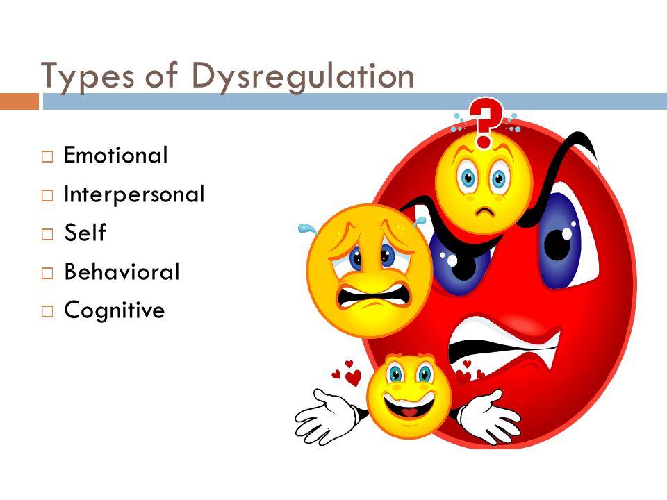 Types of Dysregulation  Emotional  Interpersonal  Self  Behavioral  Cognitive