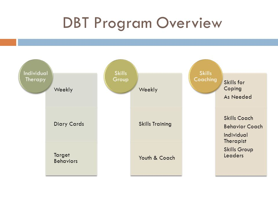 DBT Program Overview Weekly Diary Cards Target Behaviors Individual Therapy Weekly Skills Training Youth & Coach Skills Group Skills for Coping As Needed Skills Coach Behavior Coach Individual Therapist Skills Group Leaders Skills Coaching
