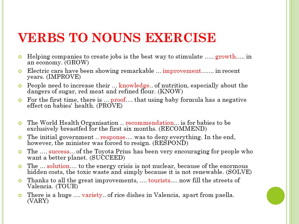 VERBS TO NOUNS EXERCISE Helping companies to create jobs is the best way to stimulate.....