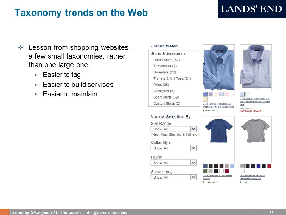31 Taxonomy Strategies LLC The business of organized information Taxonomy trends on the Web v Lesson from shopping websites – a few small taxonomies,