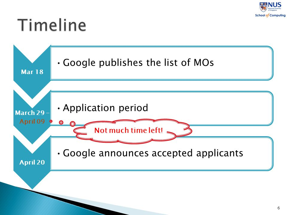 Mar 18 Google publishes the list of MOs March 29 – April 09 Application period April 20 Google announces accepted applicants 6 Not much time left!