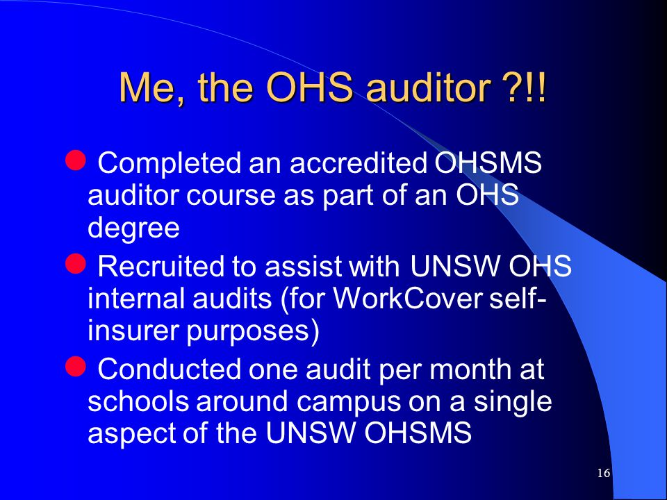 16 Me, the OHS auditor !.