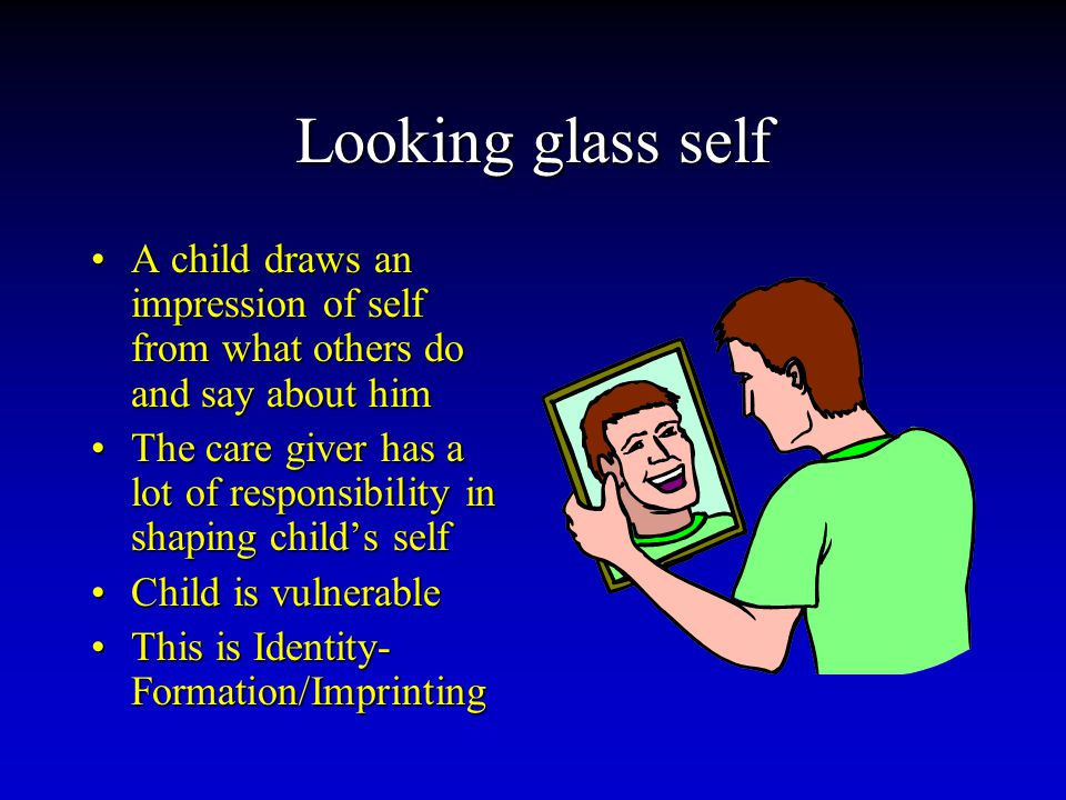 Looking glass self A child draws an impression of self from what others do and say about himA child draws an impression of self from what others do and say about him The care giver has a lot of responsibility in shaping child's selfThe care giver has a lot of responsibility in shaping child's self Child is vulnerableChild is vulnerable This is Identity- Formation/ImprintingThis is Identity- Formation/Imprinting