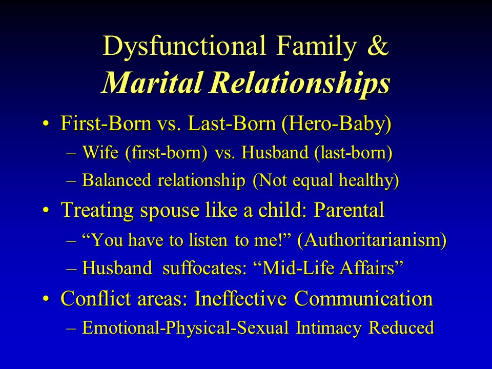 Dysfunctional Family & Marital Relationships First-BornFirst-Born vs.